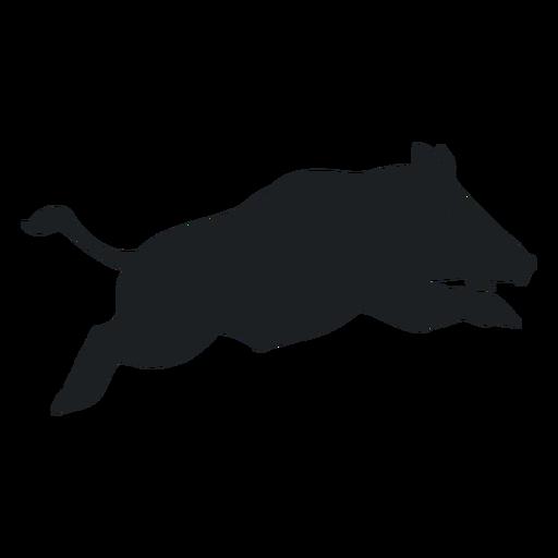 Wild boar leaping silhouette