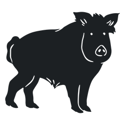 Wild boar watching silhouette