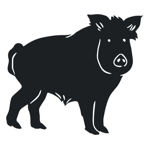 Wild boar watching silhouette Transparent PNG