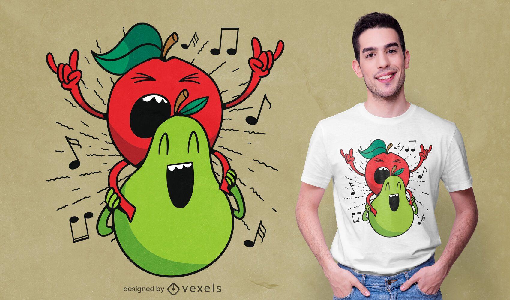 Diseño de camiseta de manzana y pera.