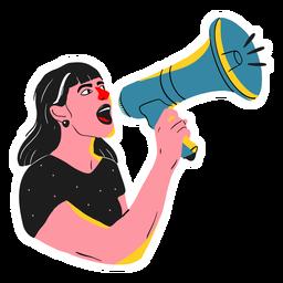 Ilustración de megáfono de mujer