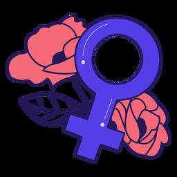 Distintivo de flores símbolo feminino