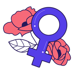Female symbol flowers badge