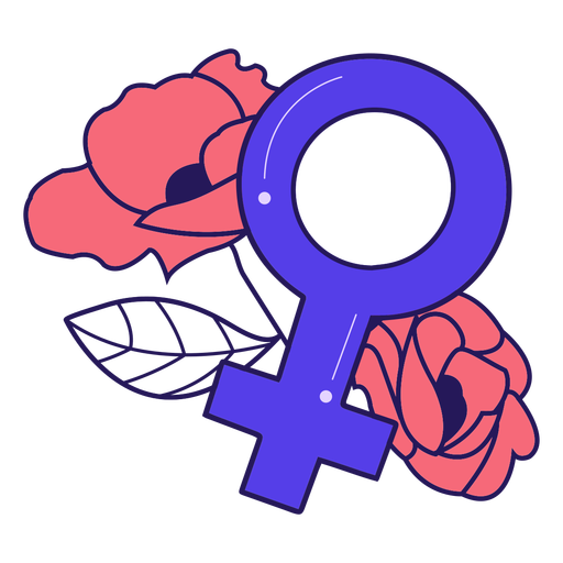 Female symbol flowers badge