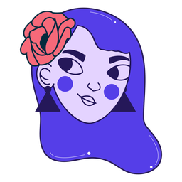 Traço colorido de retrato de menina confiante