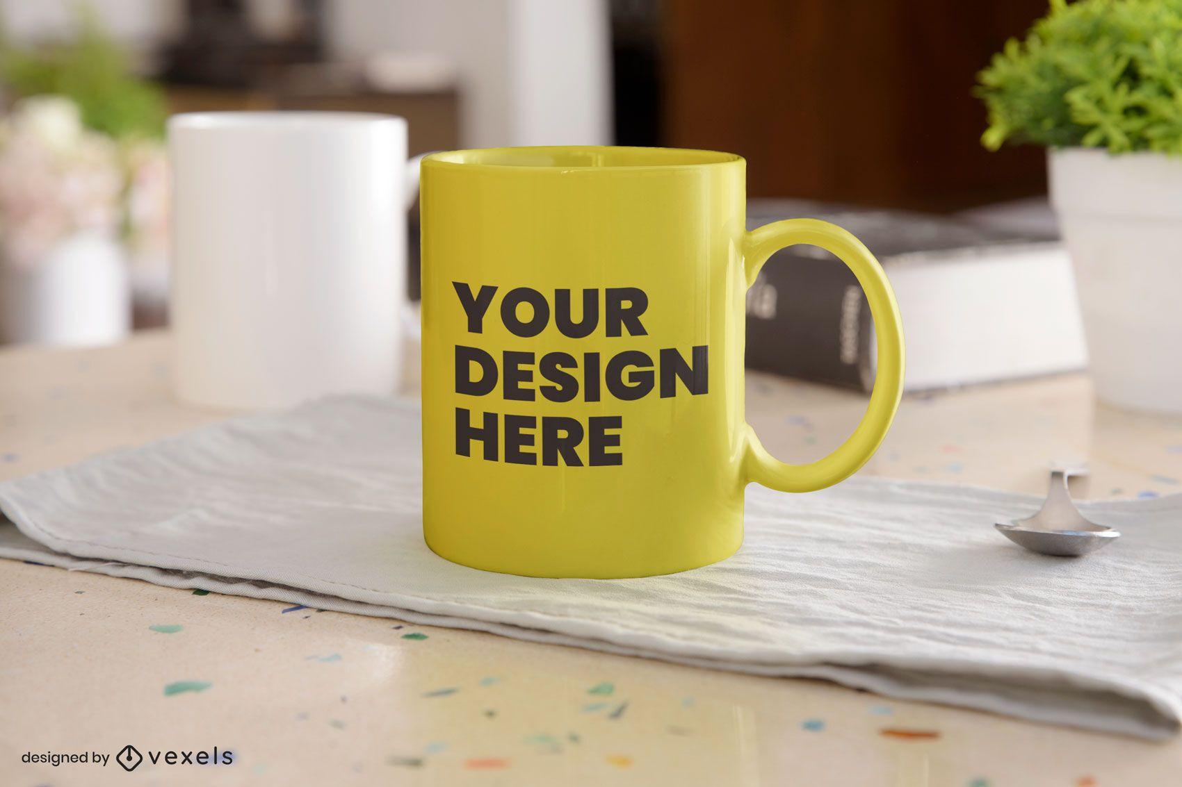 Design de maquete de caneca de mesa