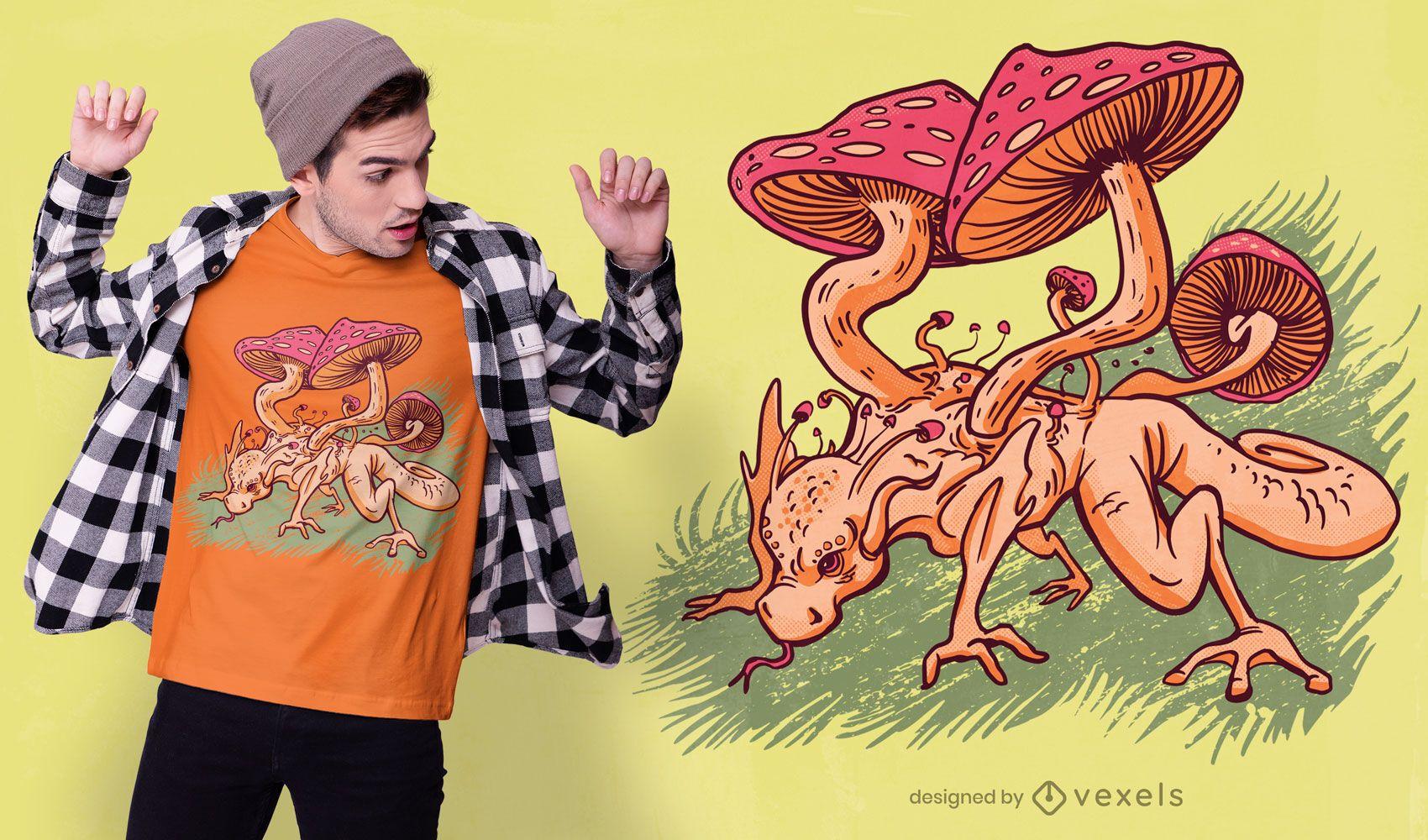 Design de camiseta dragão cogumelo