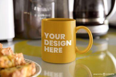 Diseño de maqueta de taza de desayuno