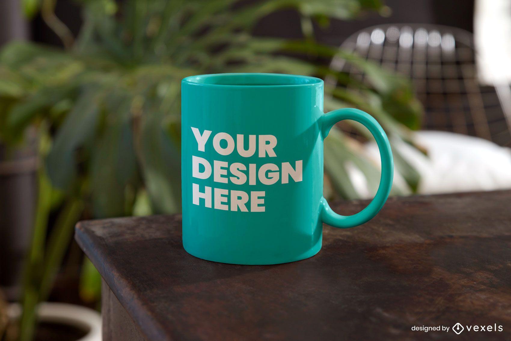 Table mug mockup psd