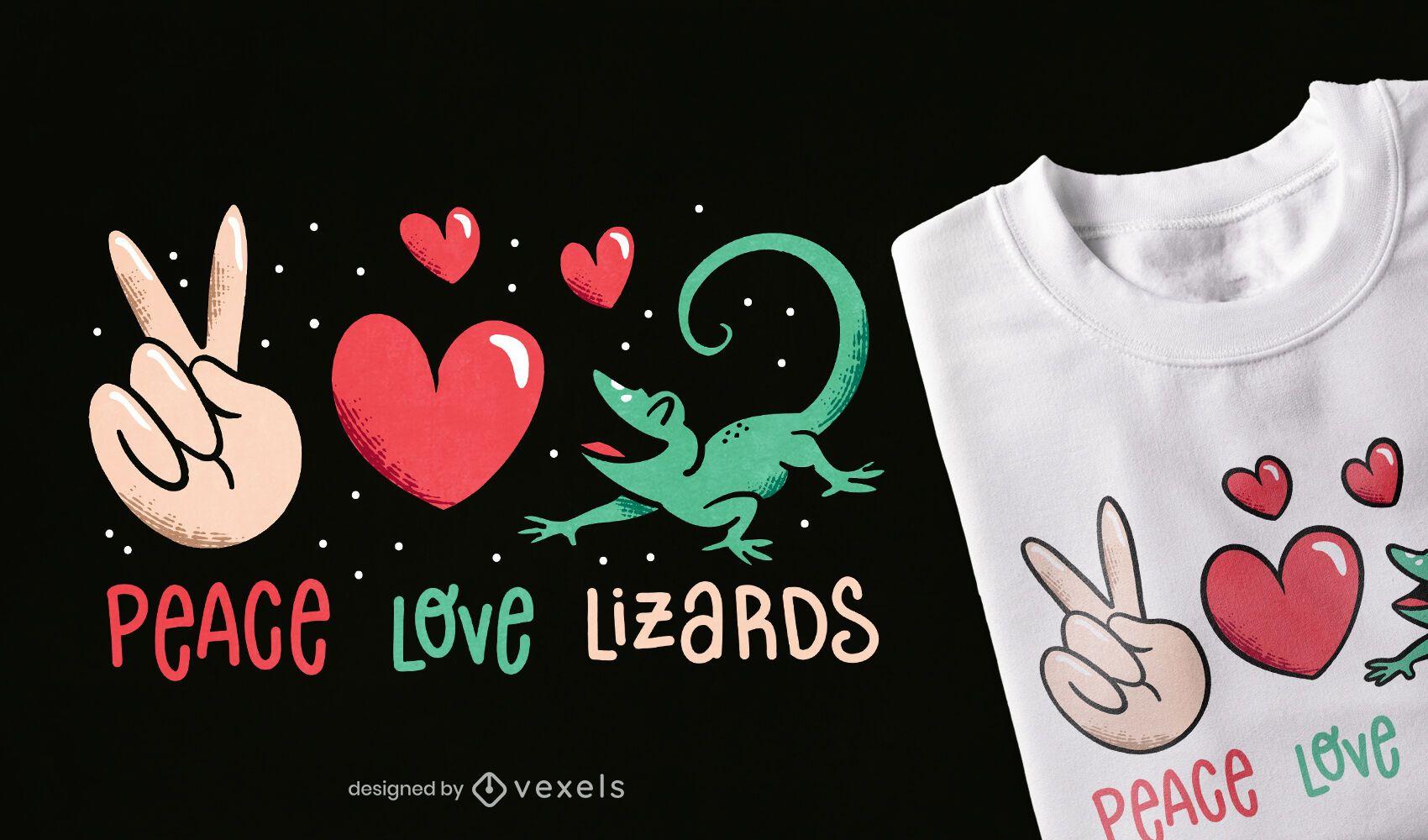 Diseño de camiseta de lagartos de amor de paz.