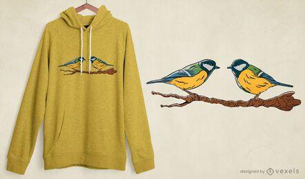 Diseño de camiseta tit birds