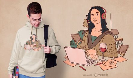 Home office Mona Lisa t-shirt design