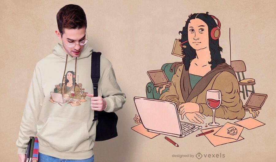 Design de camisetas Mona Lisa para home office
