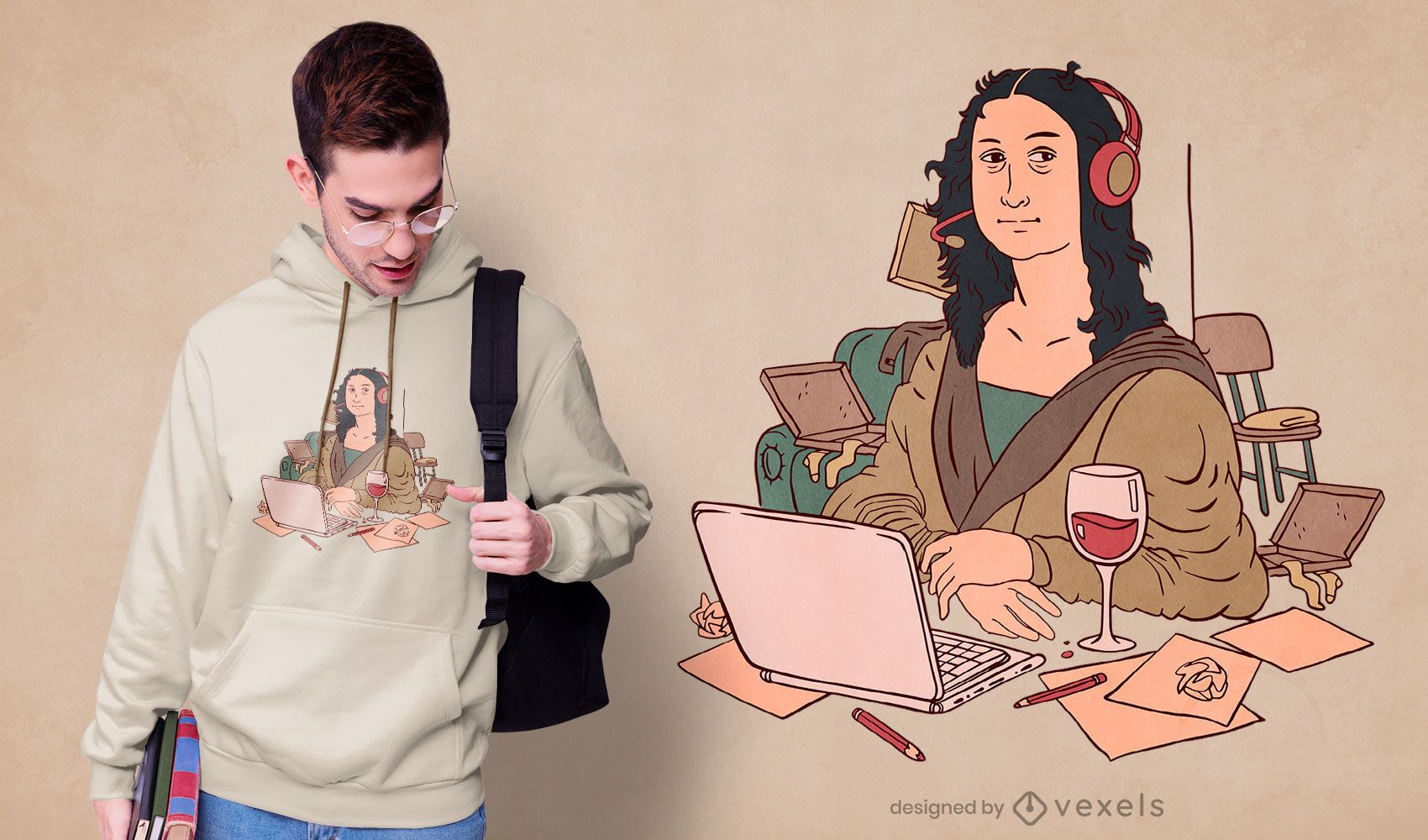 Diseño de camiseta Mona Lisa de oficina en casa