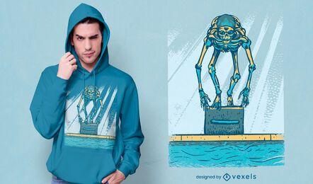 Design de t-shirt de esqueleto de natação