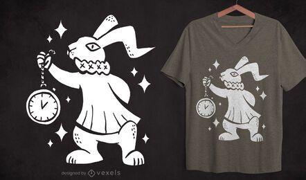 Diseño de camiseta con recorte de conejo