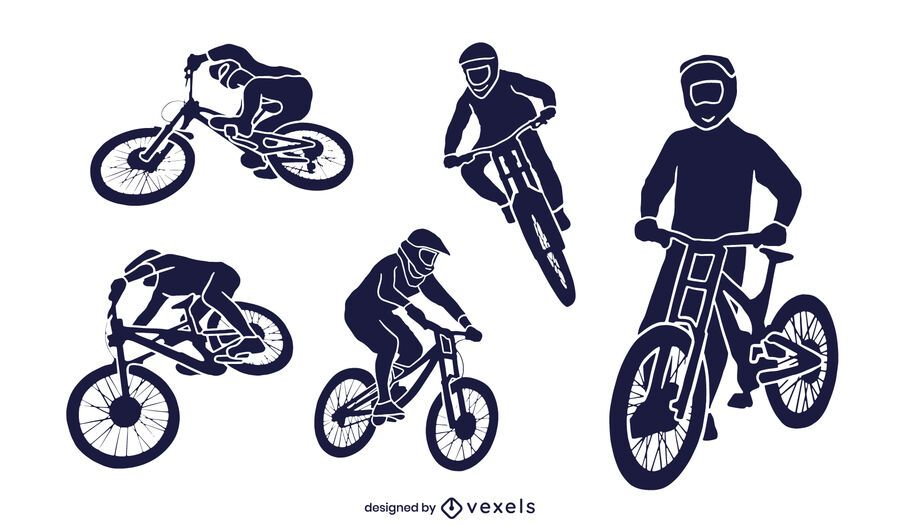 Downhill cut-out silhouette set