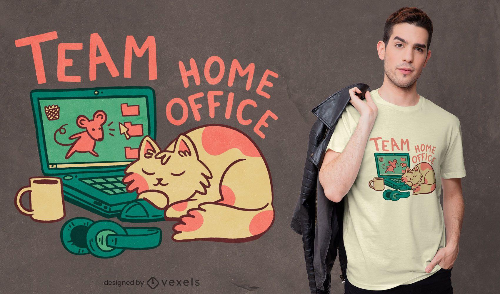 Diseño de camiseta de equipo de oficina en casa.