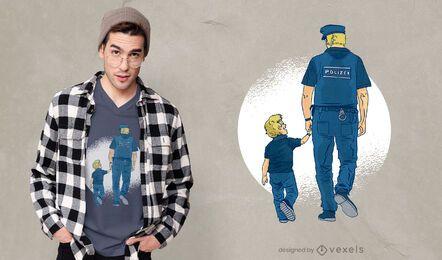 Diseño de camiseta de padre policía.