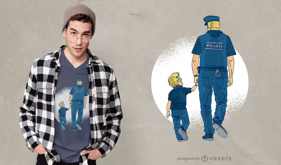 Police father t-shirt design