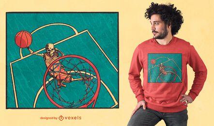 Diseño de camiseta de esqueleto de baloncesto
