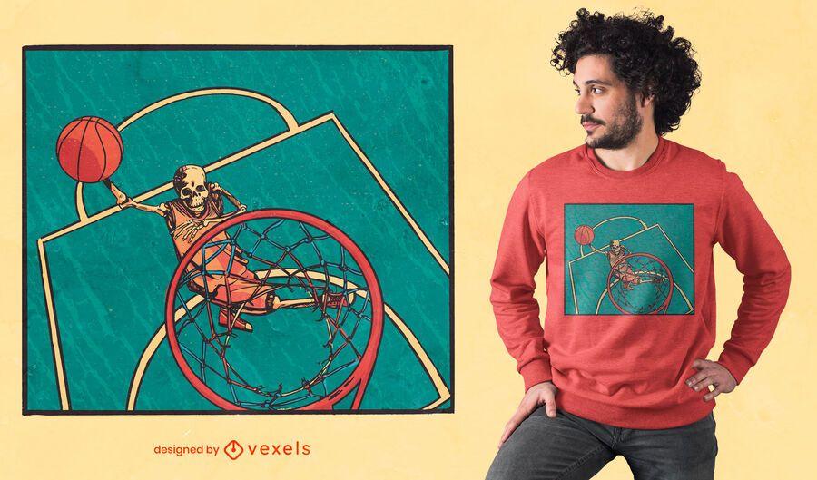 Basketball skeleton t-shirt design