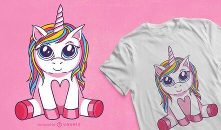 Diseño de camiseta de unicornio de ojos grandes