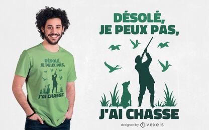 Diseño de camiseta de cita francesa de caza.