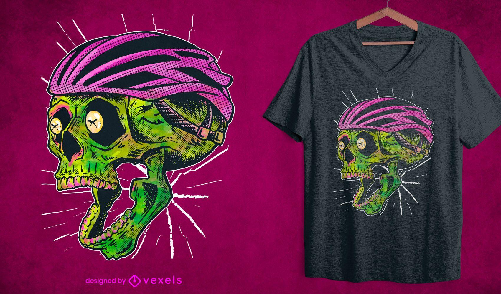 Diseño de camiseta de calavera ciclista