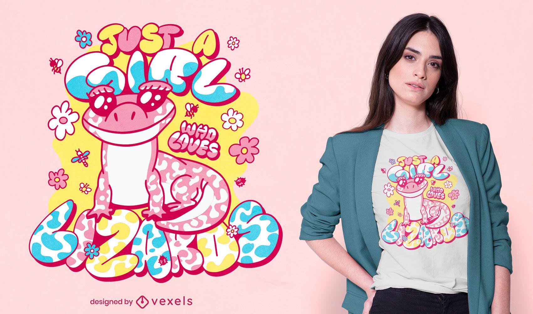 Diseño de camiseta amante del lagarto