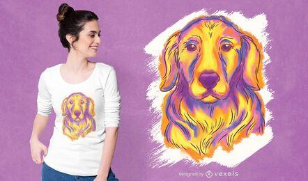Diseño de camiseta de acuarela de golden retriever
