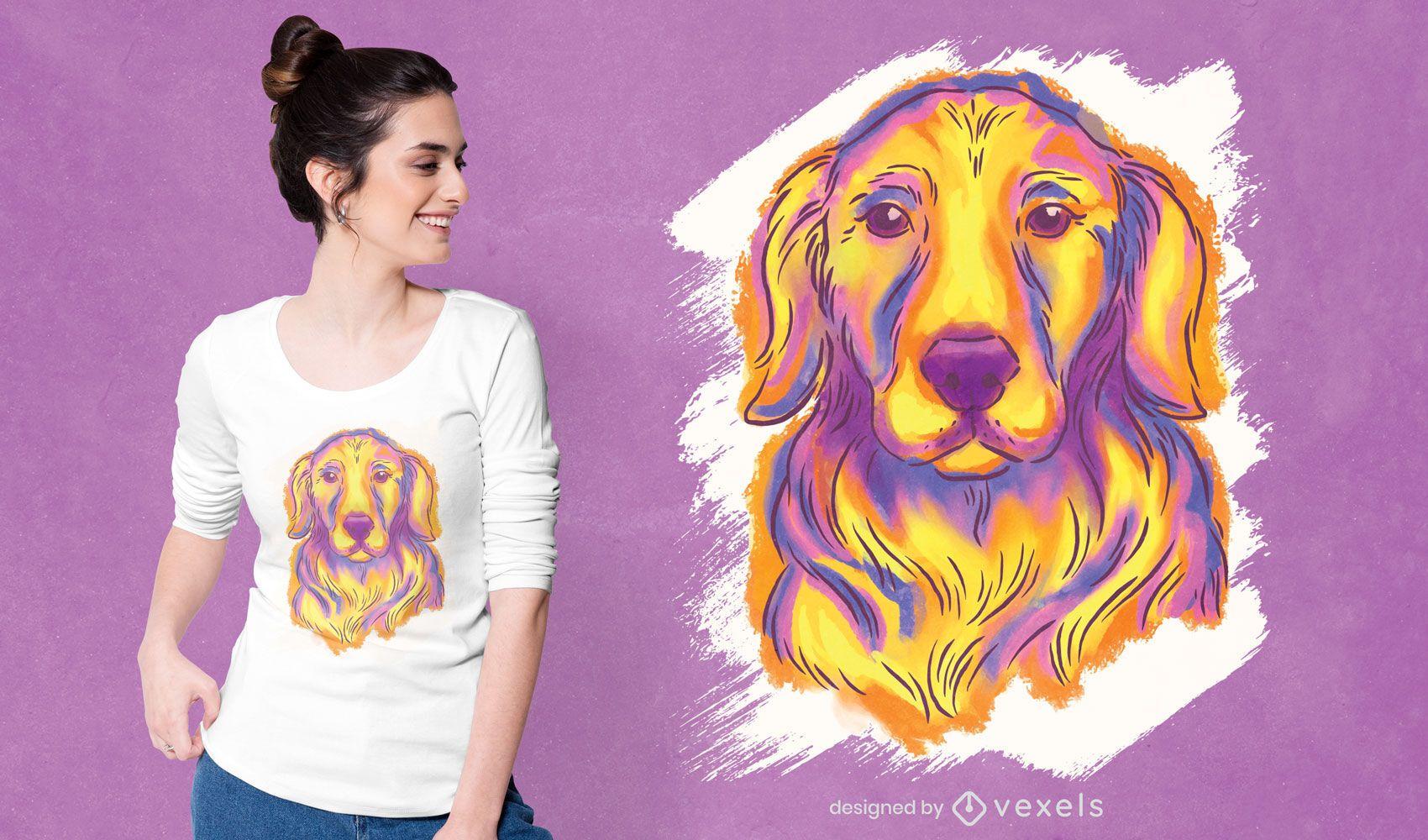 Golden retriever watercolor t-shirt design