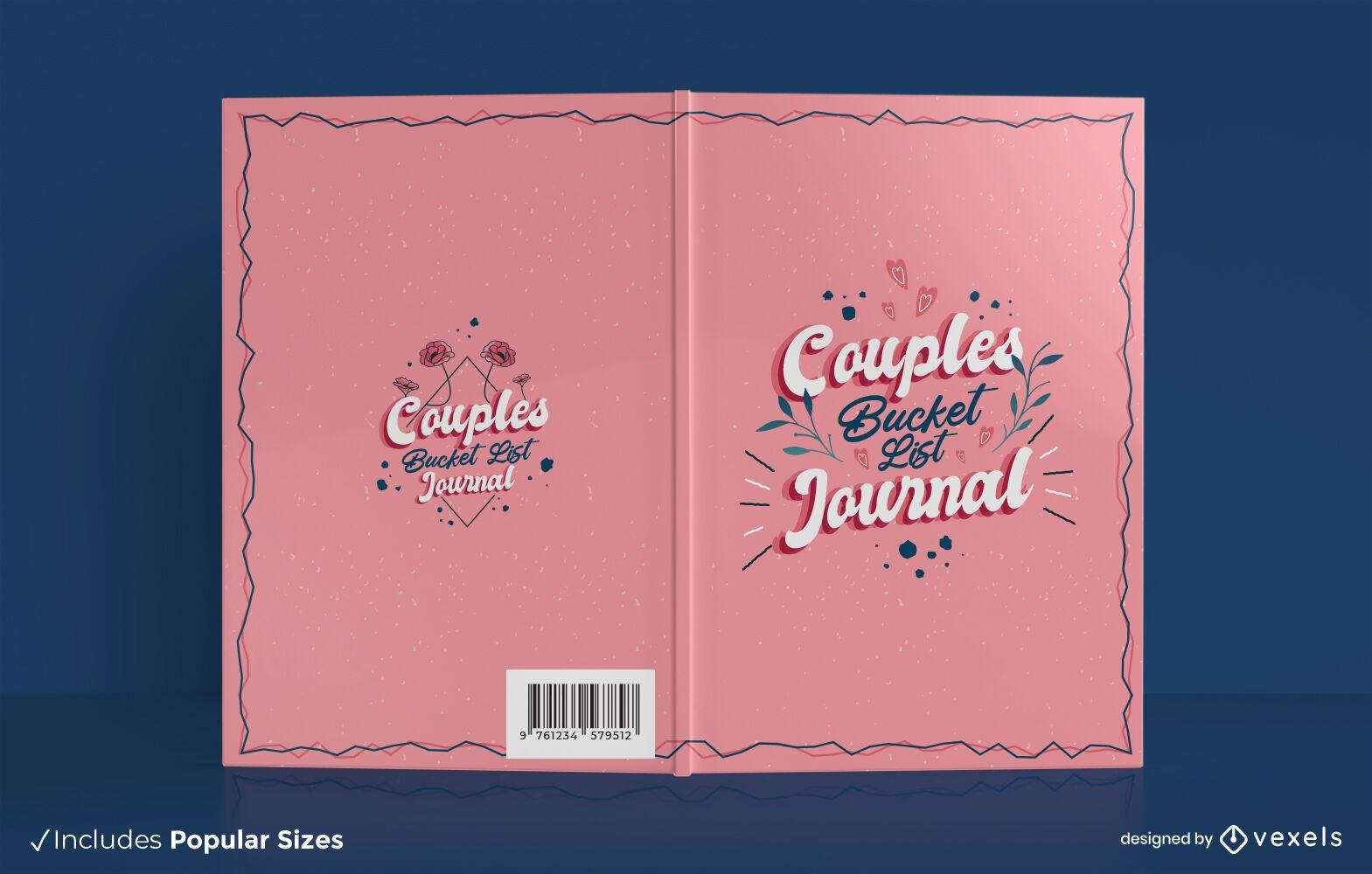 Couple's bucket list book cover design