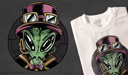 Diseño de camiseta steampunk alien