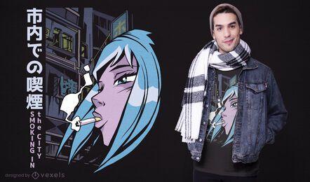 Design de camiseta feminina de anime para fumar