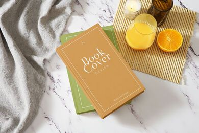Breakfast book cover mockup composition