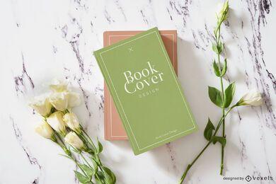 Composição de maquete de capa de livro de flores