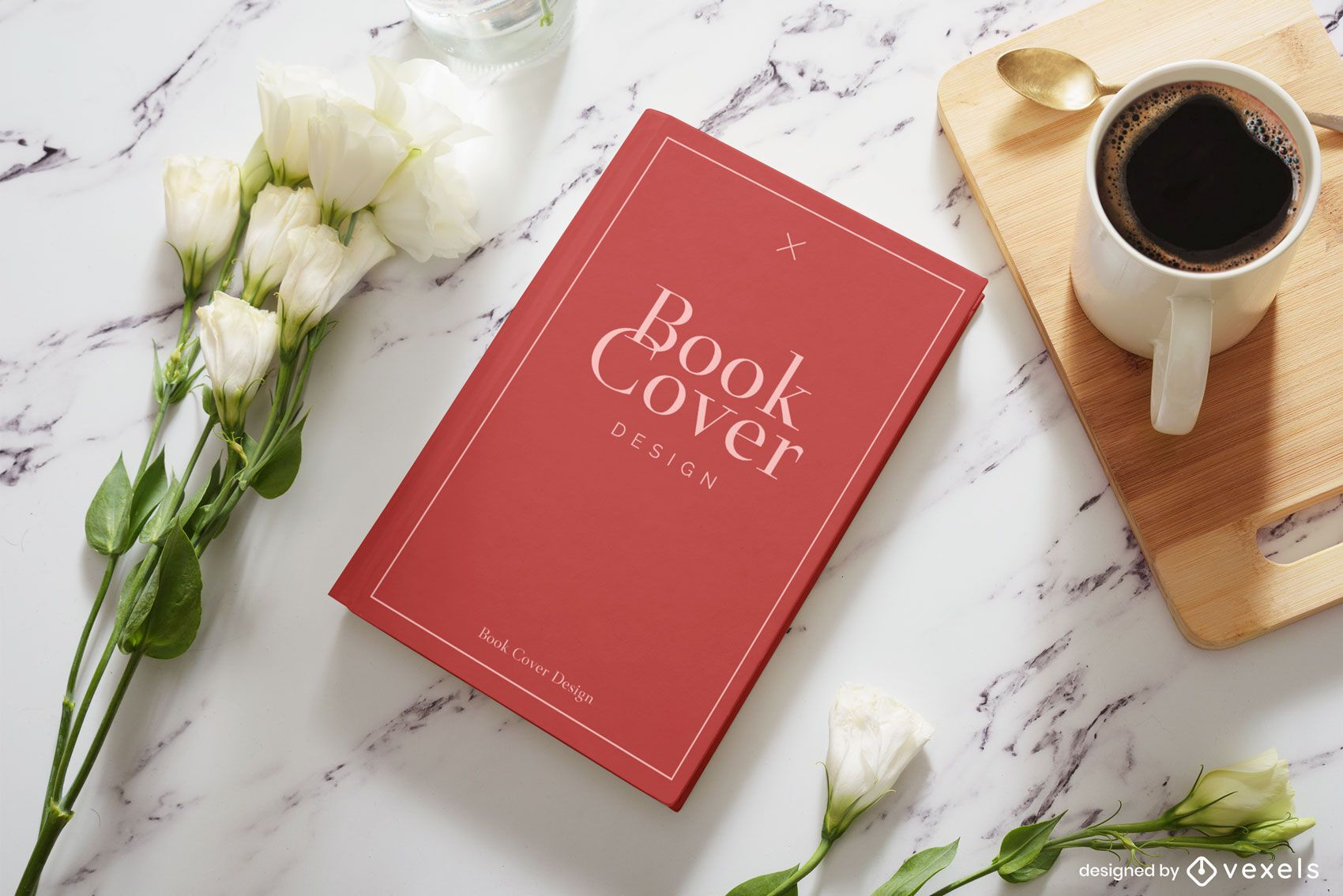 Coffee book cover mockup composition