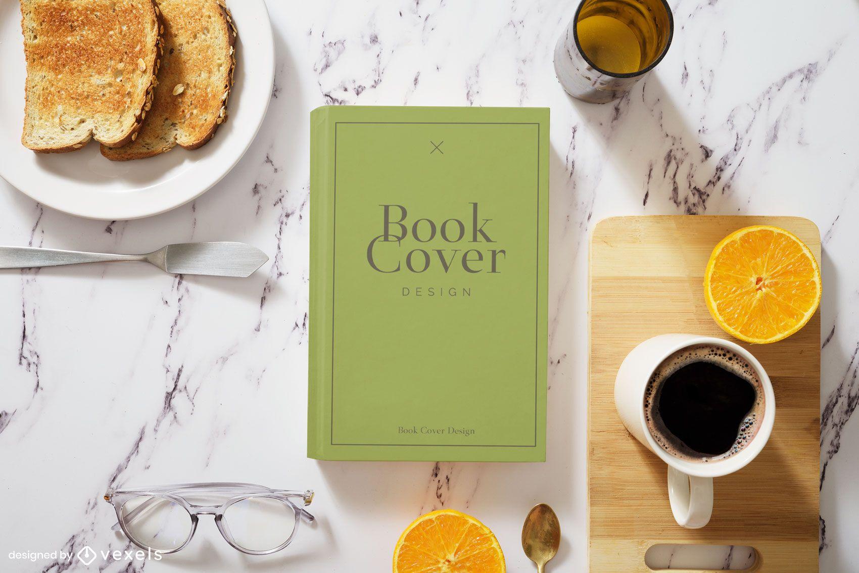 Composición de maqueta de desayuno de portada de libro