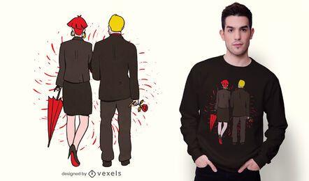 Diseño de camiseta de pareja caminando