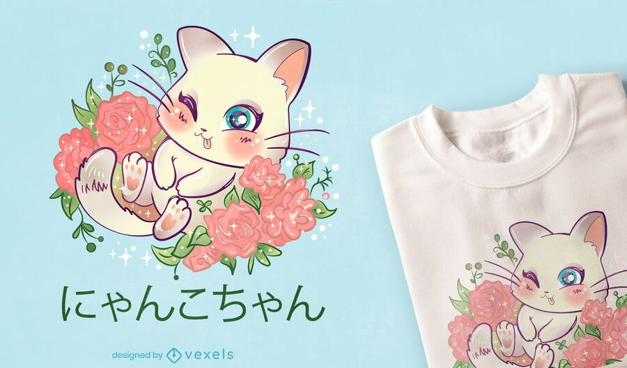 Design de camiseta do gatinho Kawaii