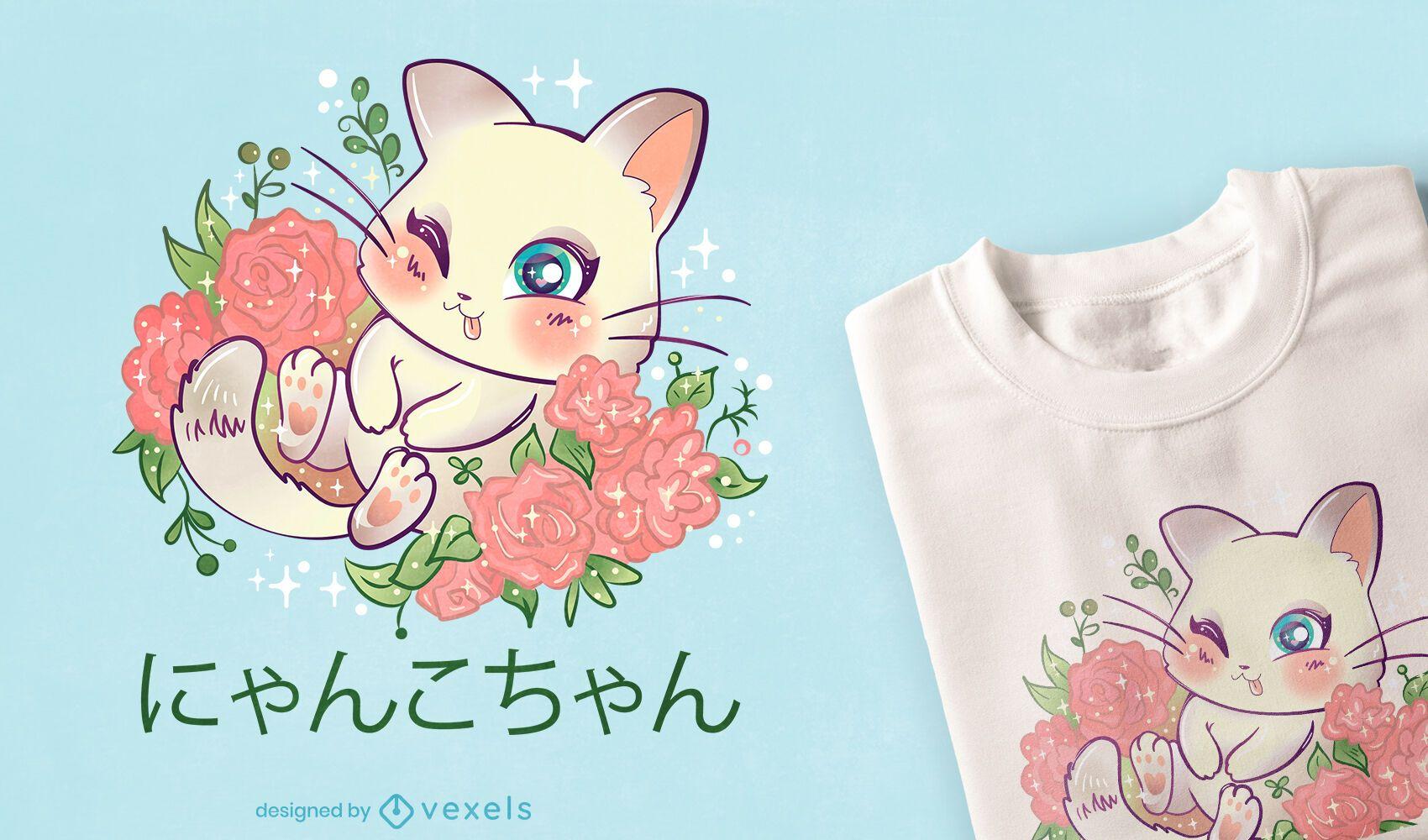 Design de camiseta do gatinho Kawaii