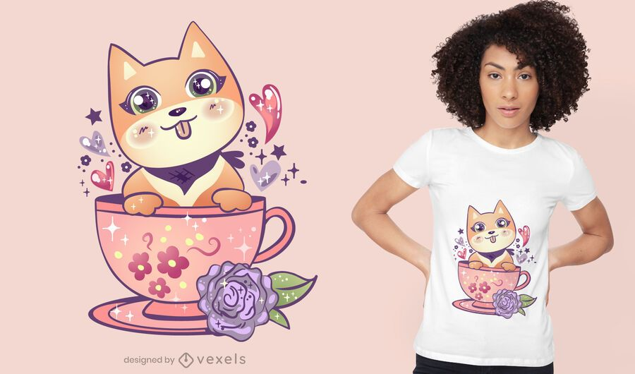 Kawaii dog in cup t-shirt design
