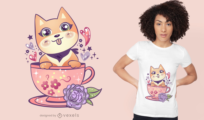 Diseño de camiseta de perro kawaii en taza