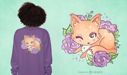 Kawaii fox t-shirt design