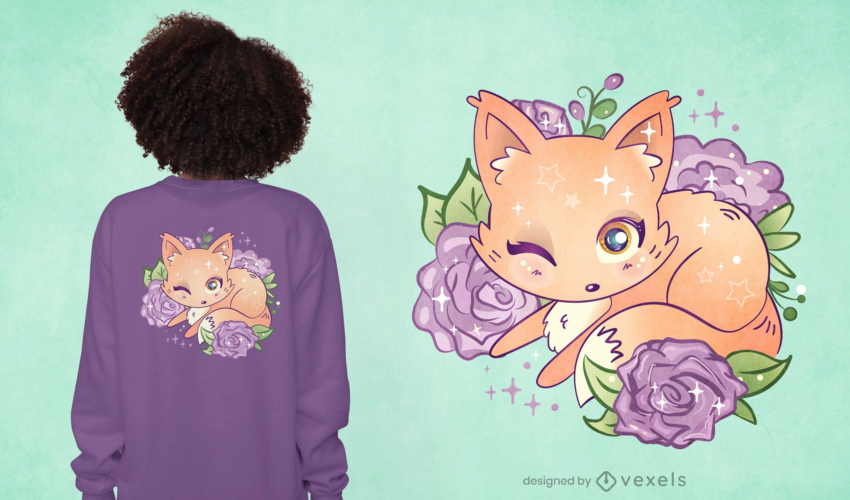 Diseño de camiseta kawaii fox