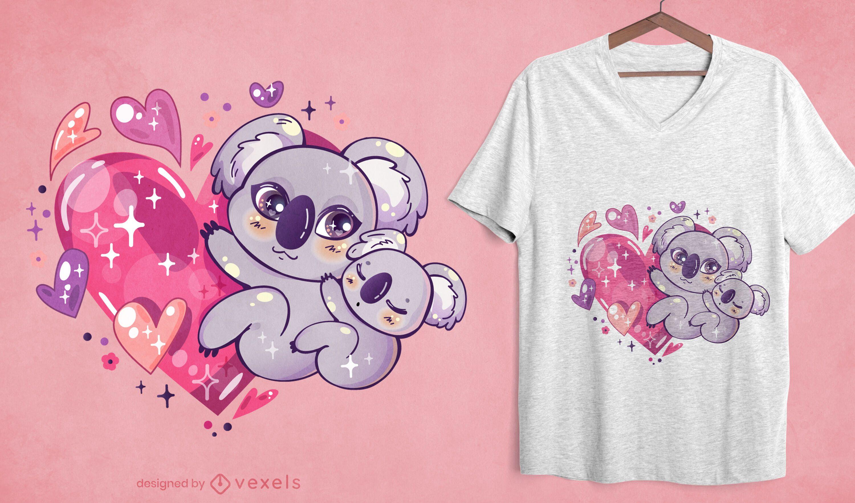 Diseño de camiseta kawaii koala