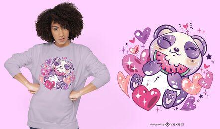 Diseño de camiseta kawaii panda