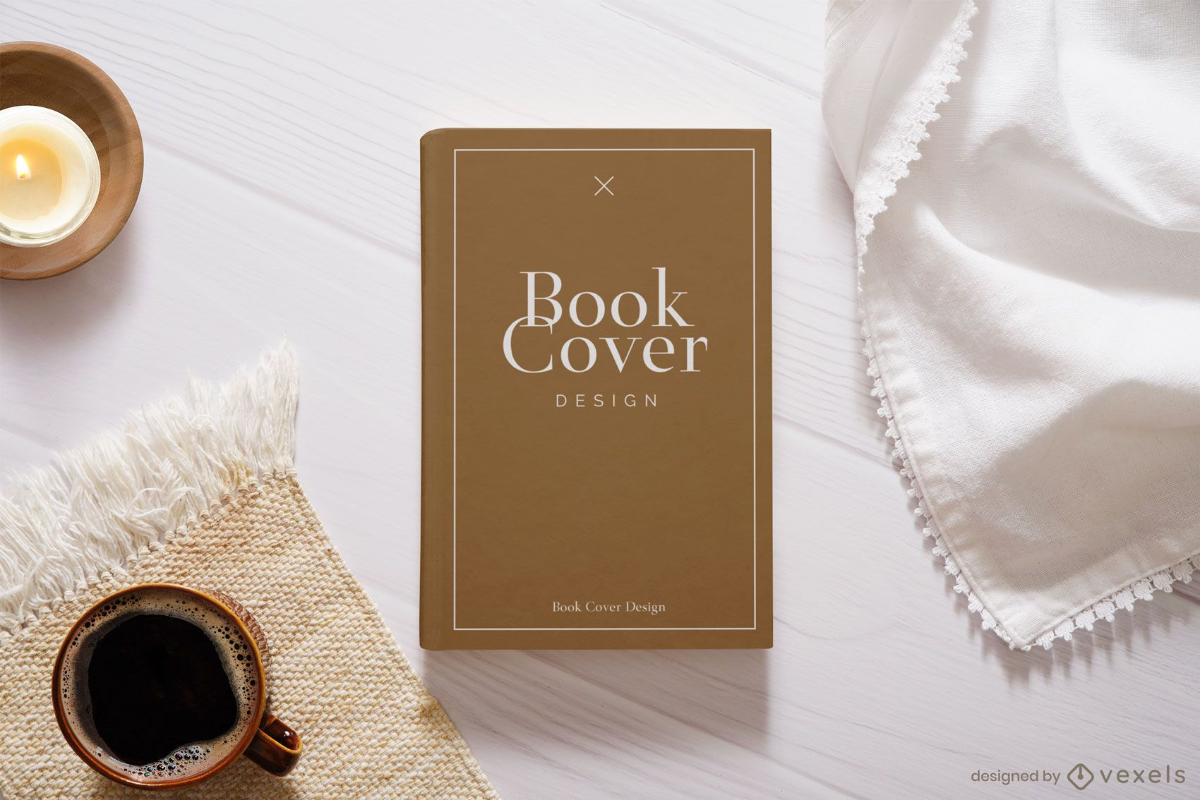 Book cover coffee mockup composition