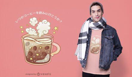 Diseño lindo de la camiseta de la taza de café